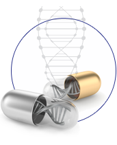 PGx open pill and DNA icon